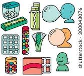 vector set of bubble gum | Shutterstock .eps vector #300043076