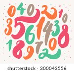 hand drawn numbers. background... | Shutterstock .eps vector #300043556