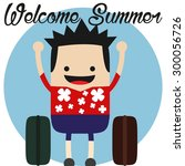 happy traveler | Shutterstock .eps vector #300056726