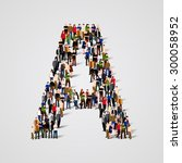 large group of people in letter ... | Shutterstock .eps vector #300058952
