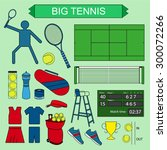 set of colored big tennis icons.... | Shutterstock .eps vector #300072266