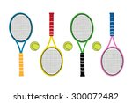 colored big tennis rackets with ...