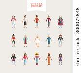 set of flat design professional ... | Shutterstock .eps vector #300072848