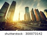 road in shanghai lujiazui... | Shutterstock . vector #300073142