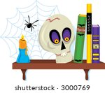 shelf with old books and a skull | Shutterstock .eps vector #3000769