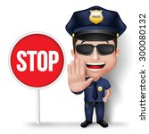 3d realistic friendly police... | Shutterstock .eps vector #300080132