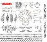 set of wreaths and feather.... | Shutterstock .eps vector #300089792
