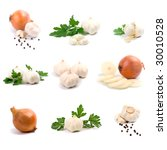 garlic and onion on white... | Shutterstock . vector #30010528
