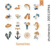 summer and beach simple flat... | Shutterstock .eps vector #300110966