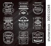 classical denim jeans black... | Shutterstock .eps vector #300112268