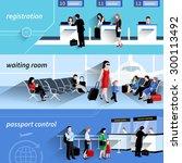 people in airport horizontal...   Shutterstock .eps vector #300113492