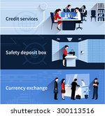 bank people horizontal banners... | Shutterstock .eps vector #300113516