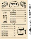 beer menu design template.... | Shutterstock .eps vector #300120002