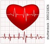 cardiogram on red heart shape | Shutterstock .eps vector #300121826