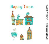 hand drawn houses in doodle... | Shutterstock .eps vector #300121898