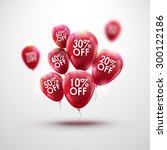 red baloons discount. sale... | Shutterstock .eps vector #300122186