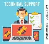 technical support flat... | Shutterstock .eps vector #300134195