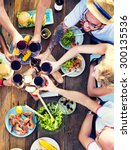 food table celebration... | Shutterstock . vector #300135536