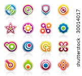 set of 16 colorful abstract... | Shutterstock .eps vector #30014017