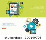 flat vector illustration. video ... | Shutterstock .eps vector #300149705