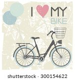 vector image of retro bicycle... | Shutterstock .eps vector #300154622