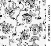 creative fish seamless pattern. ...   Shutterstock .eps vector #300155306