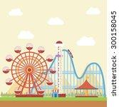 amusement park with mountain... | Shutterstock .eps vector #300158045