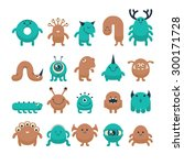 set of cute colorful cartoon... | Shutterstock .eps vector #300171728