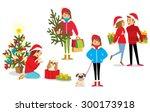 people celebrate christmas | Shutterstock .eps vector #300173918