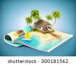 tropical island with bungalow... | Shutterstock . vector #300181562