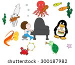 creatures of the sea to play | Shutterstock .eps vector #300187982