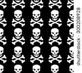 skull and bones seamless...   Shutterstock .eps vector #300208928