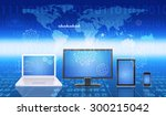 set of gadgets on anstract blue ... | Shutterstock . vector #300215042