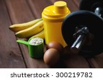 shaker with a dumbbell  protein ... | Shutterstock . vector #300219782