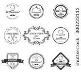 restaurant labels set.... | Shutterstock .eps vector #300223112