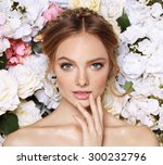 portrait of a beautiful fashion ... | Shutterstock . vector #300232796