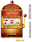 slot machine with golden coins   Shutterstock .eps vector #300238136