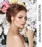 portrait of a beautiful fashion ... | Shutterstock . vector #300239198