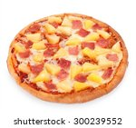 hawaiian pizza isolated on a... | Shutterstock . vector #300239552