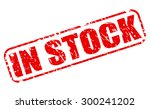 in stock red stamp text on white