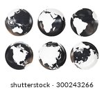 Globe 3D Geopolitical Extruded isolated on white background - stock photo