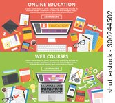 online education  web courses... | Shutterstock .eps vector #300244502
