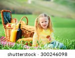 beautiful smiling girl on green ... | Shutterstock . vector #300246098