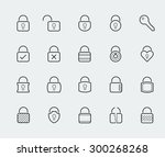 locks vector icon set in thin... | Shutterstock .eps vector #300268268