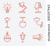 lamp icons  thin line style ... | Shutterstock .eps vector #300297965