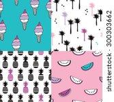seamless tropical summer modern ... | Shutterstock .eps vector #300303662