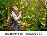 hiker watching through...   Shutterstock . vector #300309332