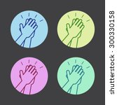 set of icons with two hands... | Shutterstock .eps vector #300330158