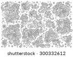 cinema  movie  film doodles... | Shutterstock .eps vector #300332612