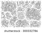 fast food doodles hand drawn... | Shutterstock .eps vector #300332786